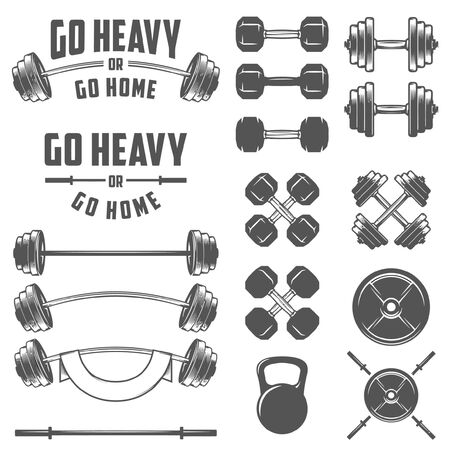 Vintage gym accessories including dumbbell, Barbell, fitness training accessories. Vettoriali