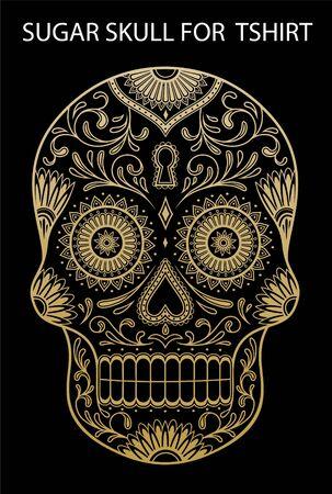 Set of hand-drawn sugar skulls. Day of the dead sugar skull.