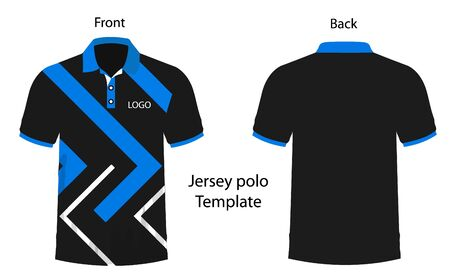 Blue and Black color polo Tshirt template for Jersey making.