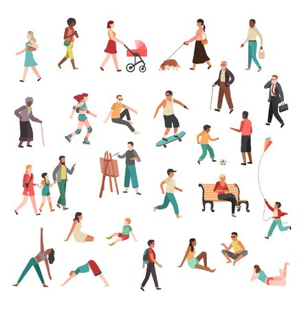 Men Women different kind of workout outdoor fitness, exercise illustration drawing cartoon characters Vektorgrafik