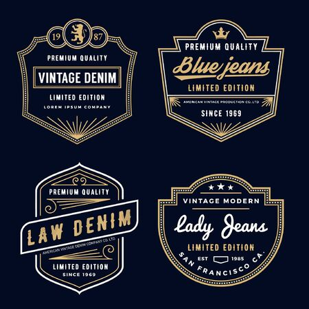 Denim logo template for startup jeans Company. Vintage denim logo template for garments and textiles. Logos
