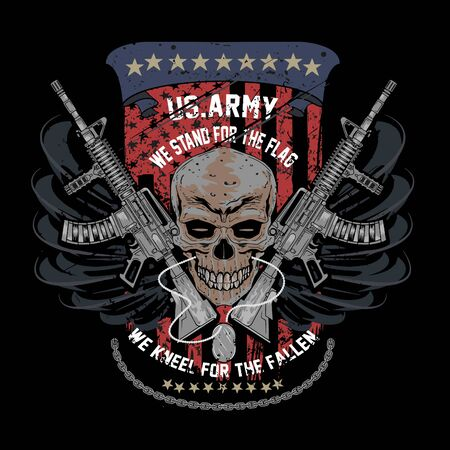 American Army and skull with weapon for Tshirt design. Army weapon Tshirt design element for garments or fashion house.