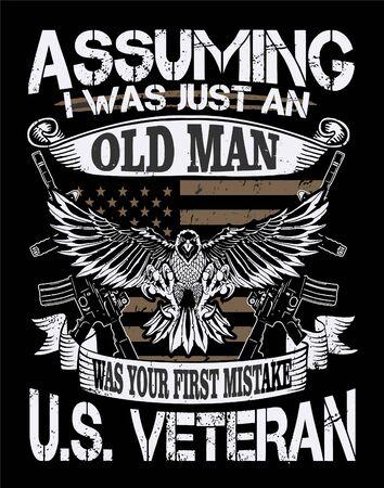 American Eagle vector illustration for Tshirt design. Tshirt design element ready to print. US veteran Tshirt design Element for garments or apparel.