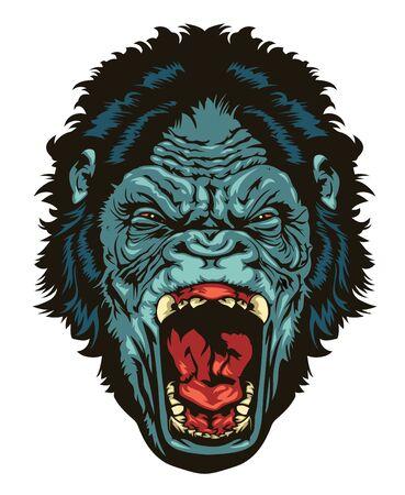 Angry gorilla head for logo design. Gorilla head for TShirt or apparel design.
