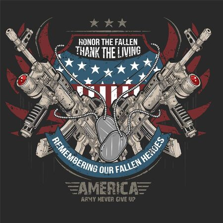 US Army Flag and weapon for Tshirt design. Army weapon Tshirt design element for garments or fashion house