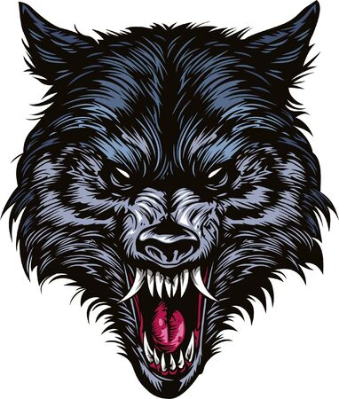 Angry wolf head for Tshirt design. Tshirt design element angry wolf head illustration.