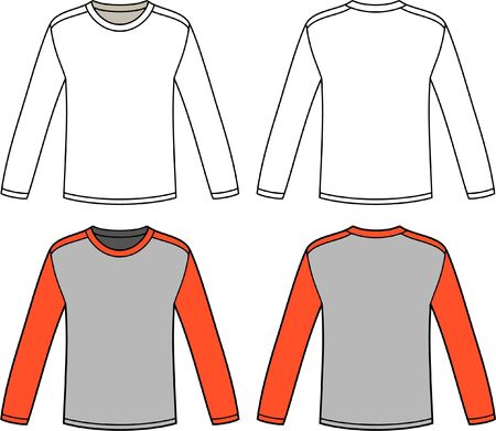 Long sleeve T-shirt round neck template. Long sleeve Tshirt technical drawing pattern.