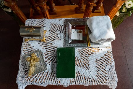 top view. an Orthodox church. prayer book at a wedding or baptism. without a face.