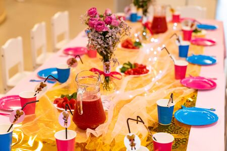 a festive table of food for guests. birthday party. Stock Photo