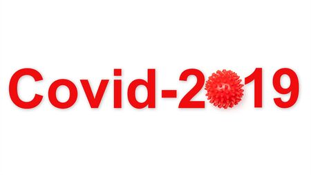 Inscription COVID-19 red word on white background. World Health Organization WHO introduced new official name for Coronavirus disease.