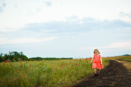 little girl in a dress goes in the dirty dirt road. earth after a rain. off-road. near a field with flowers poppies.