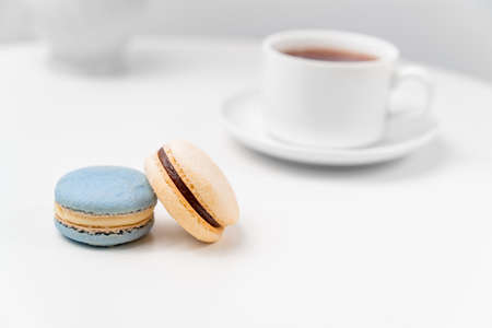 macarons on background tea Cup on a white table. table setting for tea. Stock fotó - 152478077