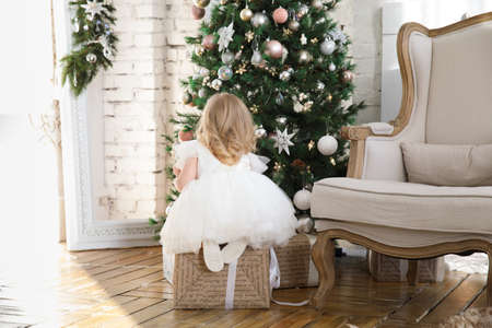 rear view. a little beautiful girl in a white fluffy, elegant dress is looking for gifts under the tree. new year holidays and vacations. fairy tales and children's dreams.