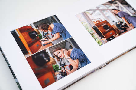 pages of photobook from photo shoots of woman with a microscope in retro house.