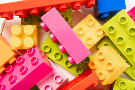 multi-colored blocks of childrens designer. details of a educational game.