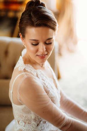 close-up portrait. beautiful young woman with natural makeup.