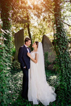 happy newlyweds by the trees in the park.bride and groom on a walk in nature