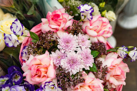 top view. bouquet of colorful bright fresh flowers. traditional gift for a woman Foto de archivo