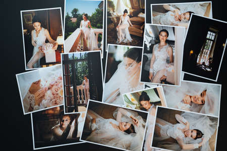 spread out wedding photos. the result of the photographers work at the wedding. Foto de archivo