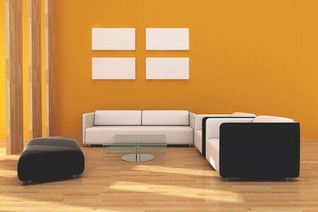 Interieur woonkamer ontwerp voor een moderne stijl.
