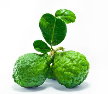 Citrus hystrix and green leaf on white background