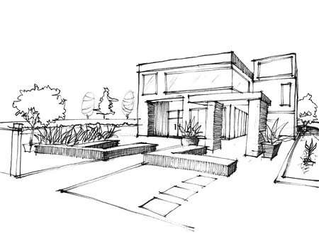 Home Sketch design on white paper