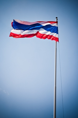thailand flag: Flag of Thailand with flag pole waving in the wind blue sky