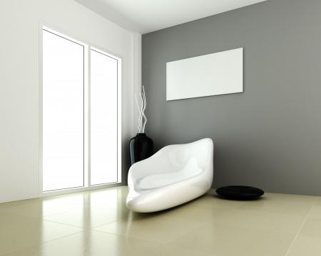 Design of interior modern room 3d rendering