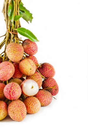 Closeup of  lychees on white background isolate