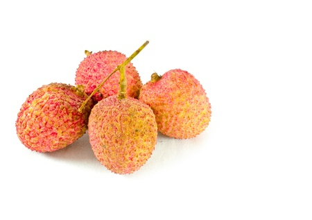 Closeup of  lychees on white background Stock Photo - 13614833