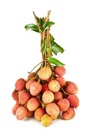 lichi: Fresh lychees on white background Stock Photo