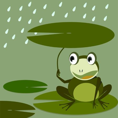 Frog and Lotus leaf idea Vector