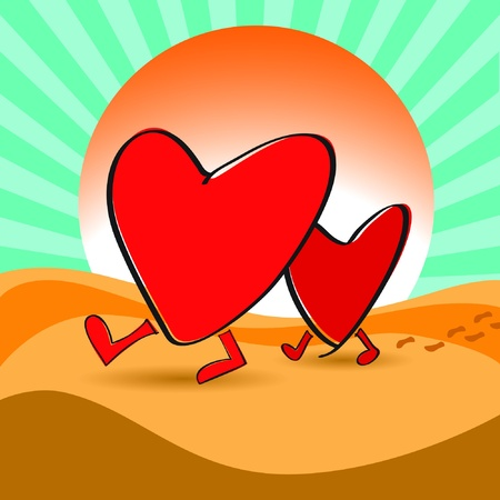 Heart walk in desert idea for love