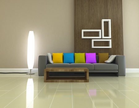 Interior of living room design 3D rendering photo