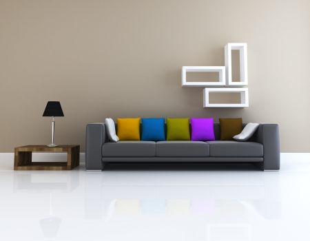 living room design: Interior of living room design 3D rendering Stock Photo