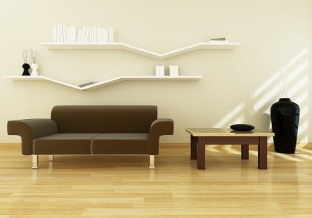 Living room modern design 3d rendering