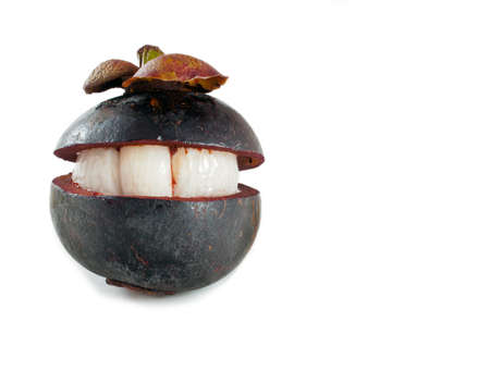 Concept  of smile on mangosteen Stock Photo