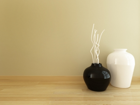Vase black and white decorated interior Stock Photo