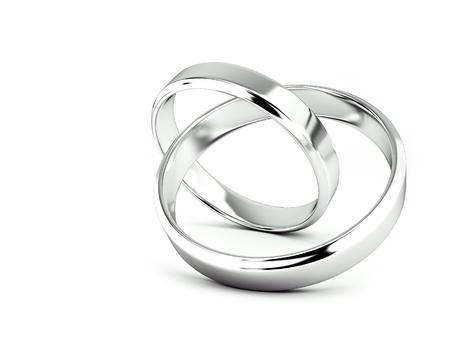 Jointed wedding rings, 3d rendering