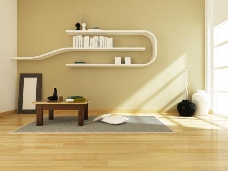 3D-rendering van het interieur moderne kamer design, 3D-rendering niet echt gebouw