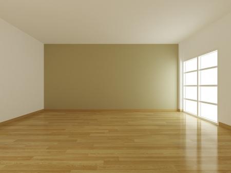 parquet floors: Interno stanza vuota e la finestra aperta, rendering 3d non edificio reale Archivio Fotografico