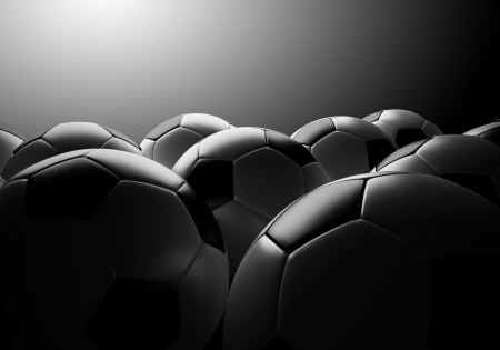 サッカー ボールのグループと効果の光の背景