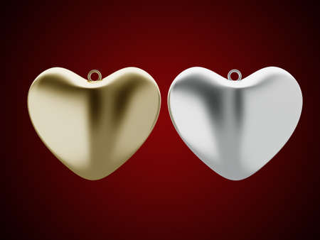 Golden and Silver heart design 3d rendering Stock Photo