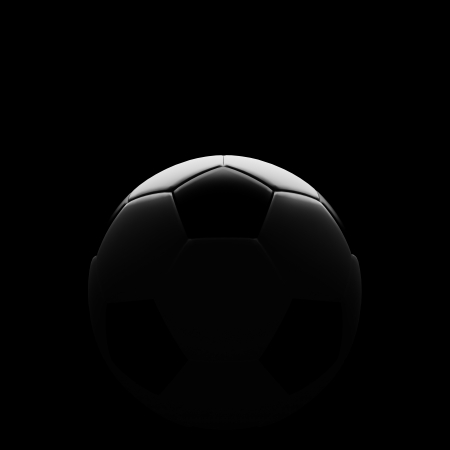 Soccer ball on black with beautiful back lighting