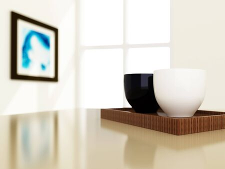 Closeup of cup style, 3d image for interior decorated Stock Photo