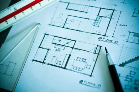 インテリア デザインのコンセプトと描画のツールの作業