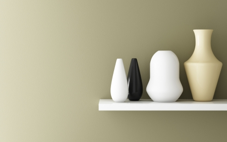shelf: Interior of yellow ochre wall and ceramic on shelf decorated, 3d rendering