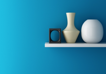 interior living: Interior of blue wall and ceramic on shelf decorated, 3d rendering