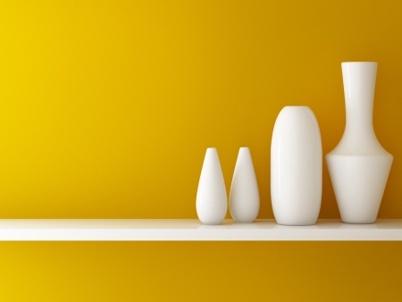 shelf: Interior of orange wall  and ceramic on shelf decorated, 3d rendering