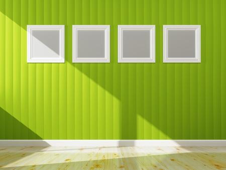 インテリアは、3 d レンダリングの緑の壁の色と白のフレーム 写真素材